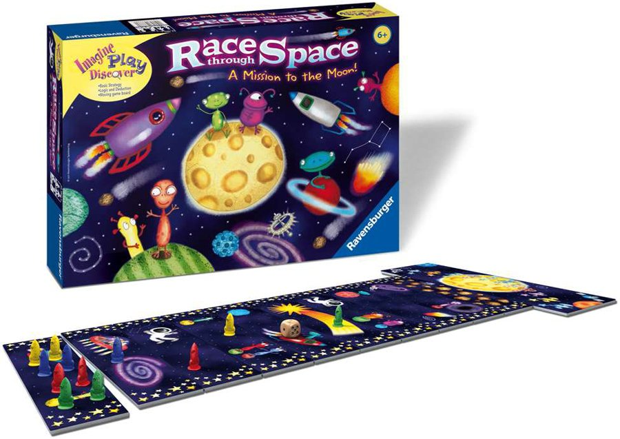 Race Through Space board game a mission to the moon by ravensburger toys and games race-through-space