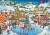 Roy Trower Artist joy of christmas santa is skating with kids christmas Ravenbsurger JigsawPuzzles t