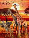 giraffe family photograph in african sunset jogsaw puzzles jogsawpuzzles jigsawpuzzle giraffe puzz