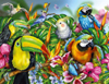tropical-birds,Tropical Birds painted by artist Lori Schory ravensburger 2000 piece jigsaw puzzel # 166817