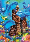 tiki-gods,tiki gods under the ocean with a group of dolphins and other fish ravensburger 1000 piece jigsaw puz