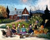 an-afternoon-stroll,Pauline Paquin quebec artiste colorful paintings of chilhood joy brought to life in a special puzzle