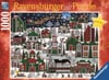 americana-christmas,Medana Gabbard Artist americana christmas santa is flying over a us village xmas Ravenbsurger Jigsaw