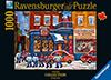 st-viateur-bagel-hockey,Carole Spandau Canadian Artist St. Viateur Bagel and Hockey Street Scene Ravenbsurger JigsawPuzzles