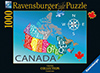 Ravensburger Puzzle # 195367 Colorful Map of Canada JigsawPuzzle by Louise Jessup