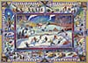 John Burrow canadian artiste colorful paintings of children playing hockey in canadian winter