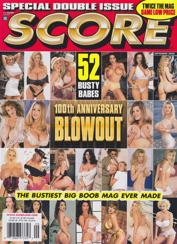 Score September 2000 magazine back issue Score magizine back copy score magazine 2000 back issues 100th anniversary blowout double issue busty babes spread wide big b