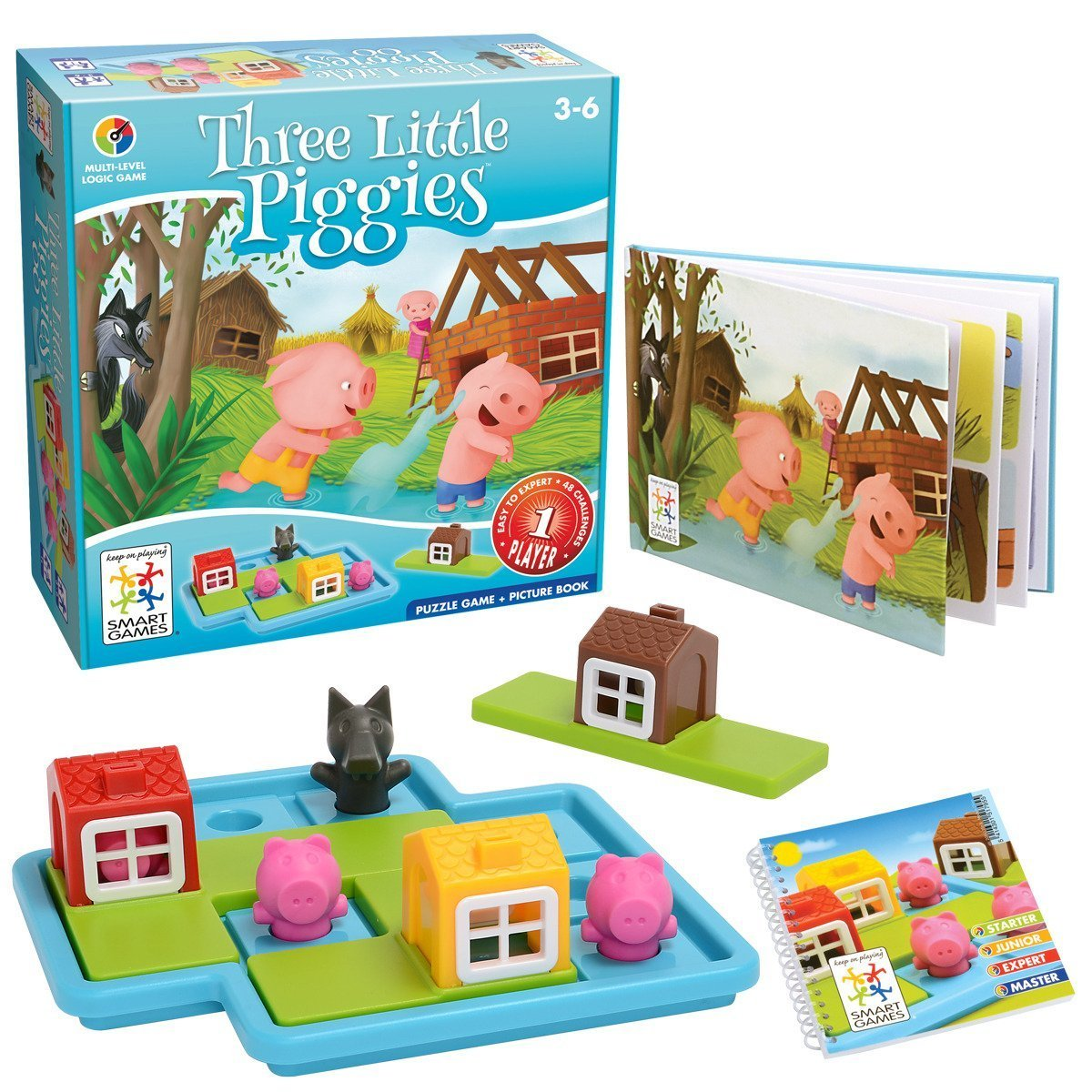 Three Little Piggies, Multi-Level Logic Game Made by Smart Games three-little-piggies