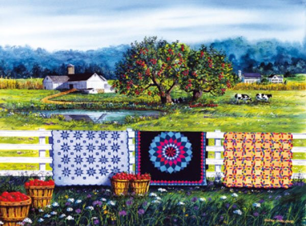 Amish Roadside Market painted by Diane Phalen 1000 piece jigsaw puzzle manufactured by suns out amish-roadside-market-sunsout