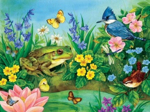 Garden Pond painted by Jane Maday 300 piece jigsaw puzzle manufactured by suns out garden-pond-sunsout