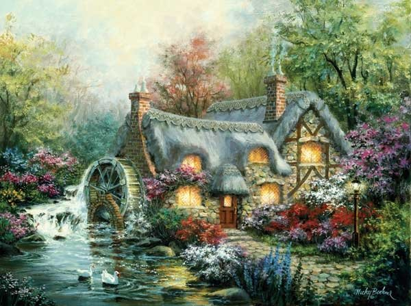 cottage mill painted by nicky boehme 1000 piece jigsaw puzzle manufactured by suns out cottage-mill-sunsout