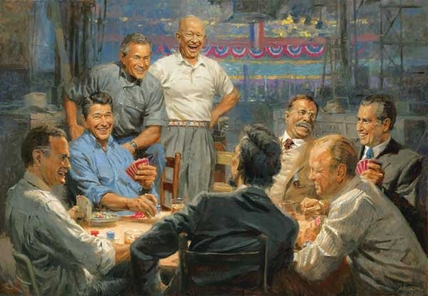 grand old gang painted by amdy thomas 500 piece jigsaw puzzle manufactured by suns out grand-ole-gang-sunsout