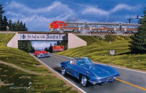 america's best cars painted by robert west 1000 piece jigsaw puzzle manufactured by suns out americas-best-sunsout