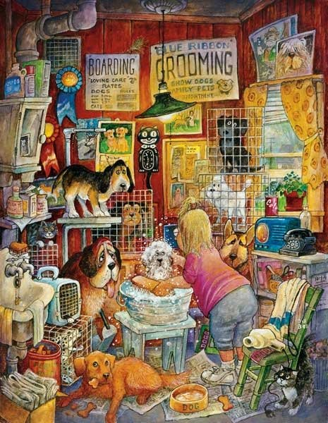 blue ribbon groomer painted by Bill Bell 1000 piece jigsaw puzzle manufactured by suns out blue-ribbon-groomer-sunsout