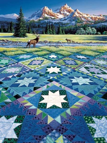 Mountain Vigil painted by Rebecca Barker 1000 piece jigsaw puzzle manufactured by suns out mountain-vigil-sunsout