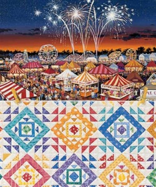 Country Fair painted by Rebecca Barker 1000 piece jigsaw puzzle manufactured by suns out country-fair-sunsout