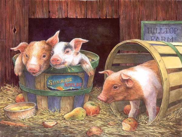 Three Pigs painted by Lorraine Ryan 1000 piece jigsaw puzzle manufactured by suns out three-pigs-sunsout