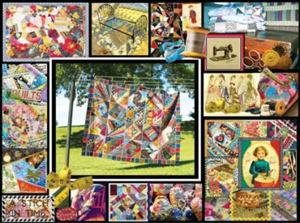 Quilt Montage painted by Lois Sutton 1000 piece jigsaw puzzle manufactured by suns out quilt-montage-sunsout