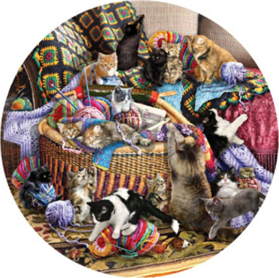 The Knitting Circle painted by Lori Schory 1000 piece jigsaw puzzle manufactured by suns out the-knitting-circle-sunsout