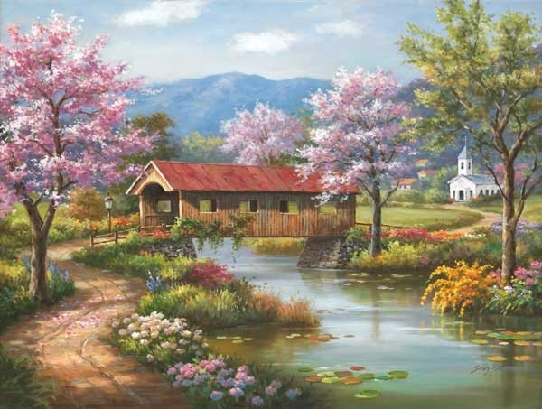 Covered Bridge in Spring painted by Sung Kim 1000 piece jigsaw puzzle manufactured by suns out covered-bridge-in-spring-sunsout