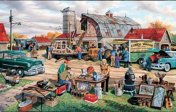 Country Auction painted by Ken Zylla 1000 piece jigsaw puzzle manufactured by suns out country-auction-sunsout