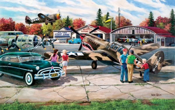 Warbird Rally painted by Ken Zylla 550 piece jigsaw puzzle manufactured by suns out warbird-rally-sunsout
