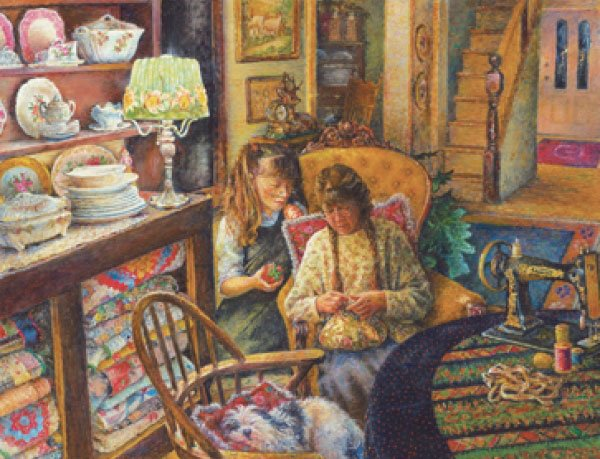 learning to sew painted by susan brabeau 1000 piece jigsaw puzzle manufactured by suns out learning-to-sew-sunsout