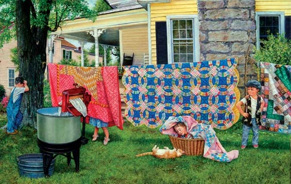 Hide and Quilt painted by Susan Brabeau 550 piece jigsaw puzzle manufactured by suns out hide-n-quilt-sunsout