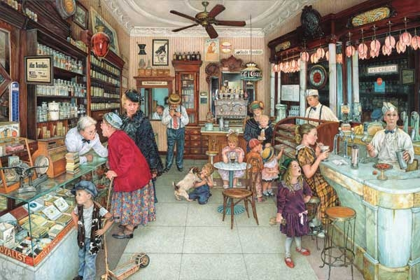 Soda Fountain painted by Susan Brabeau 1000 piece jigsaw puzzle manufactured by suns out soda-fountain-sunsout