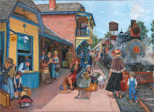 At the Station painted by Susan Brabeau 500 piece jigsaw puzzle manufactured by suns out at-the-station-sunsout