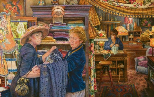 Shady Lady Lamp Shop painted by Susan Brabeau 1000 piece jigsaw puzzle manufactured by suns out shady-lady-lamp-shop-sunsout