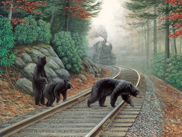 Bear Tracks painted by Dan Christ 500 piece jigsaw puzzle manufactured by suns out bear-tracks-sunsout