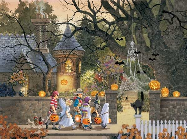 Friends on Halloween painted by Doug Laird 1000 piece jigsaw puzzle manufactured by suns out friends-on-halloween-sunsout
