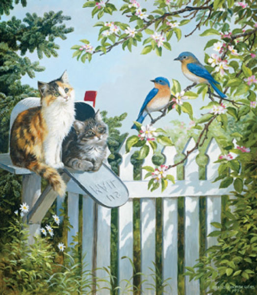 A Furry Special Delivery painted by Persis Clayton Weirs 300 piece jigsaw puzzle manufactured by sun a-furry-special-delivery-sunsout