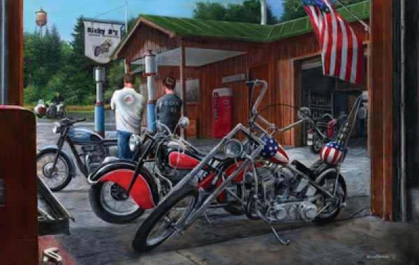 Building Dreams Motorcycles painted by Kevin Daniel 1000 piece jigsaw puzzle manufactured by suns ou building-dreams-sunsout