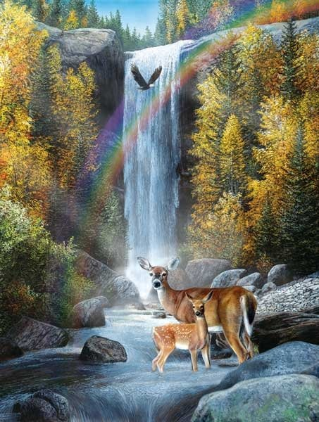 Rainbow Setting painted by Kevin Daniels 1000 piece jigsaw puzzle manufactured by suns out rainbow-setting-sunsout