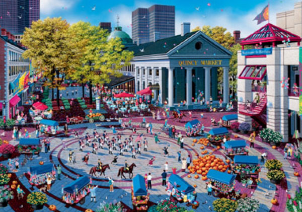 Quincy Market in Boston painted by Alexander Chen 1000 piece jigsaw puzzle manufactured by suns out quincy-market-boston-sunsout