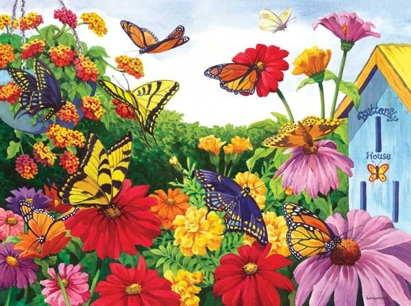 Butterfly Garden painted by Nancy Wernersbach 1000 piece jigsaw puzzle manufactured by suns out butterfly-garden-sunsout