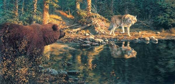 Evening Encounter painted by John Seery-Lester 1000 piece jigsaw puzzle manufactured by sun evening-encounter-sunsout