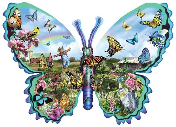 Butterfly Farm painted by Lori Schory 1000 piece jigsaw puzzle manufactured by suns out butterfly-farm-sunsout