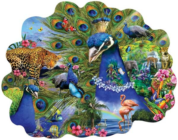 Proud Peacock painted by Lori Schory 1000 piece jigsaw puzzle manufactured by suns out proud-peacock-sunsout