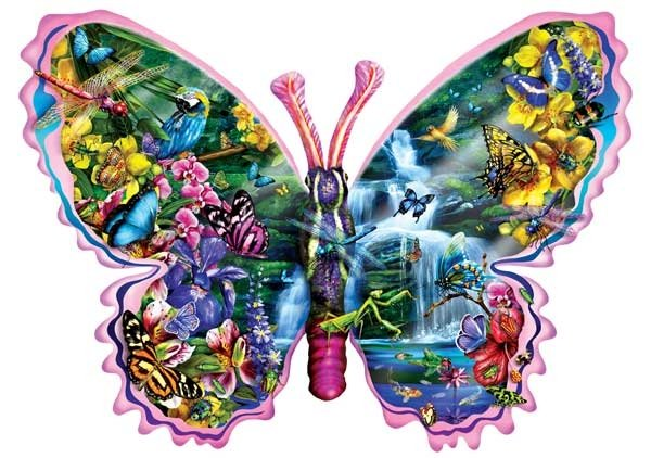 Butterfly Waterfall painted by Lori Schory 1000 piece jigsaw puzzle manufactured by suns out butterfly-waterfall-sunsout