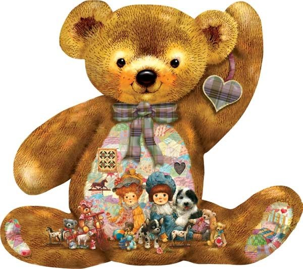 quilted teddy painted by Giordano Studios 1000 piece shaped jigsaw puzzle manufactured by suns out quilted-teddy-sunsout