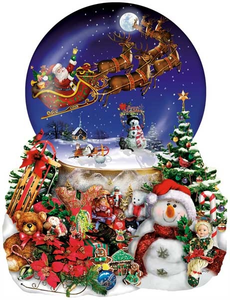 Santa's Snowy Ride painted by Lori Schory 1000 piece jigsaw puzzle manufactured by sun santas-snowy-ride-sunsout