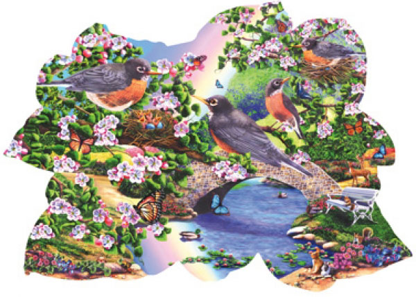 Robins in the Park painted by Lori Schory 1000 piece jigsaw puzzle manufactured by suns out robins-in-the-park-sunsout