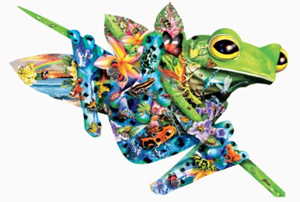 Paradise Frogs painted by Lori Schory 1000 piece shaped jigsaw puzzle manufactured by suns out paradise-frogs-sunsout