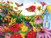 Butterfly Garden painted by Nancy Wernersbach 1000 piece jigsaw puzzle manufactured by suns out Puzzle