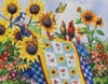 Meeting at the Clothesline painted by Nancy Wernersbach 1000 piece jigsaw puzzle manufactured by sun Puzzle