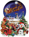 Santa's Snowy Ride painted by Lori Schory 1000 piece jigsaw puzzle manufactured by sun Puzzle