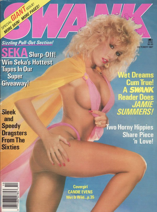 Swank October 1987 magazine back issue Swank magizine back copy seka slurp off sleek and speedy dragsters from the sixties candie evans jamie summers horny hippies